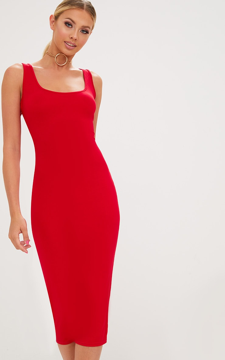 Red Scoop Neck Midaxi Dress 1