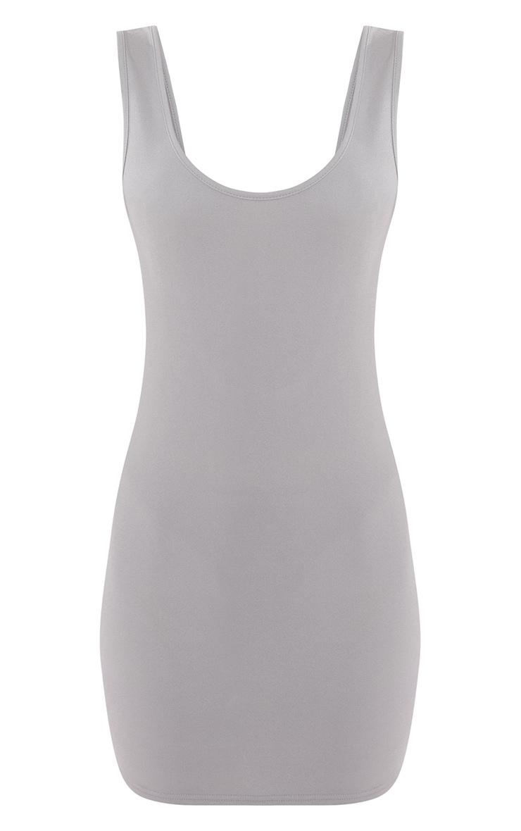 Basic Dove Grey Crepe Scoop Back Bodycon Dress 4