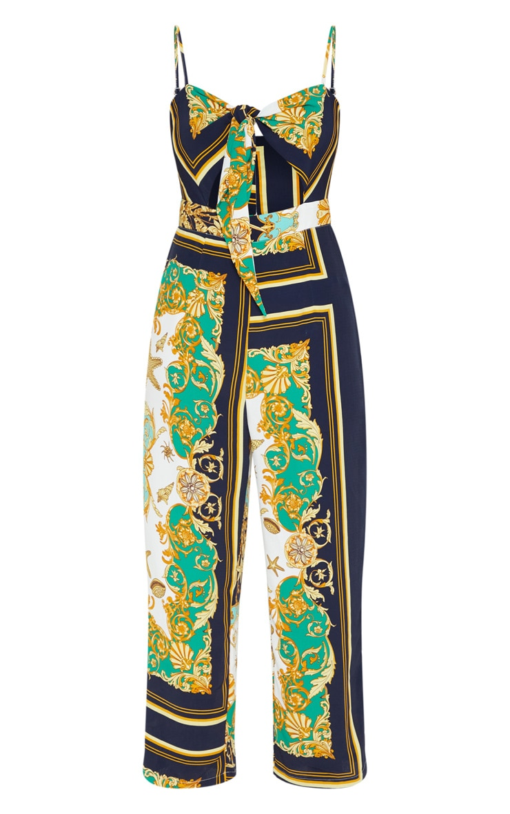 Green Shell Print Tie Front Beach Jumpsuit 3
