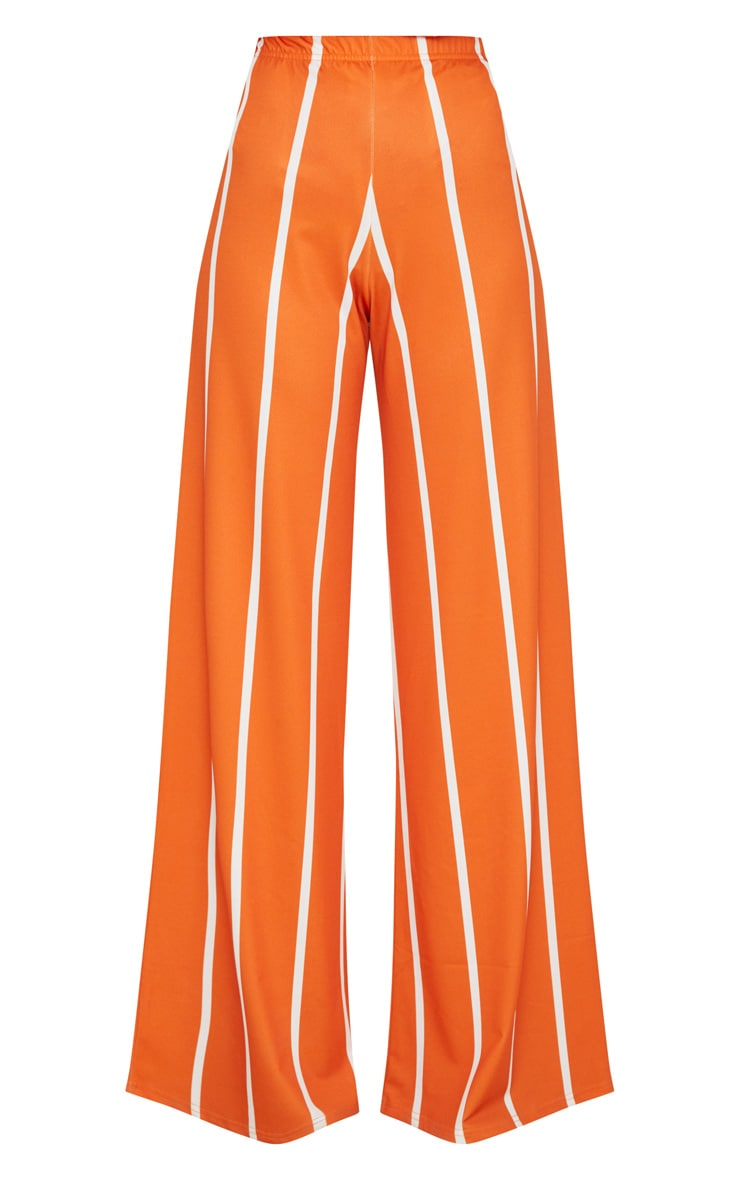 Orange Stripe Jersey Wide Leg Pants 3