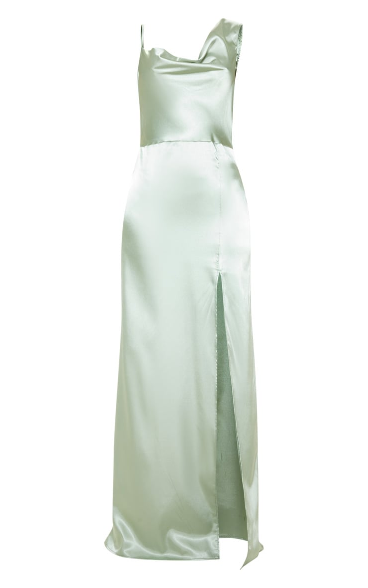 Sage Green Satin Cowl Neck Maxi Dress 3