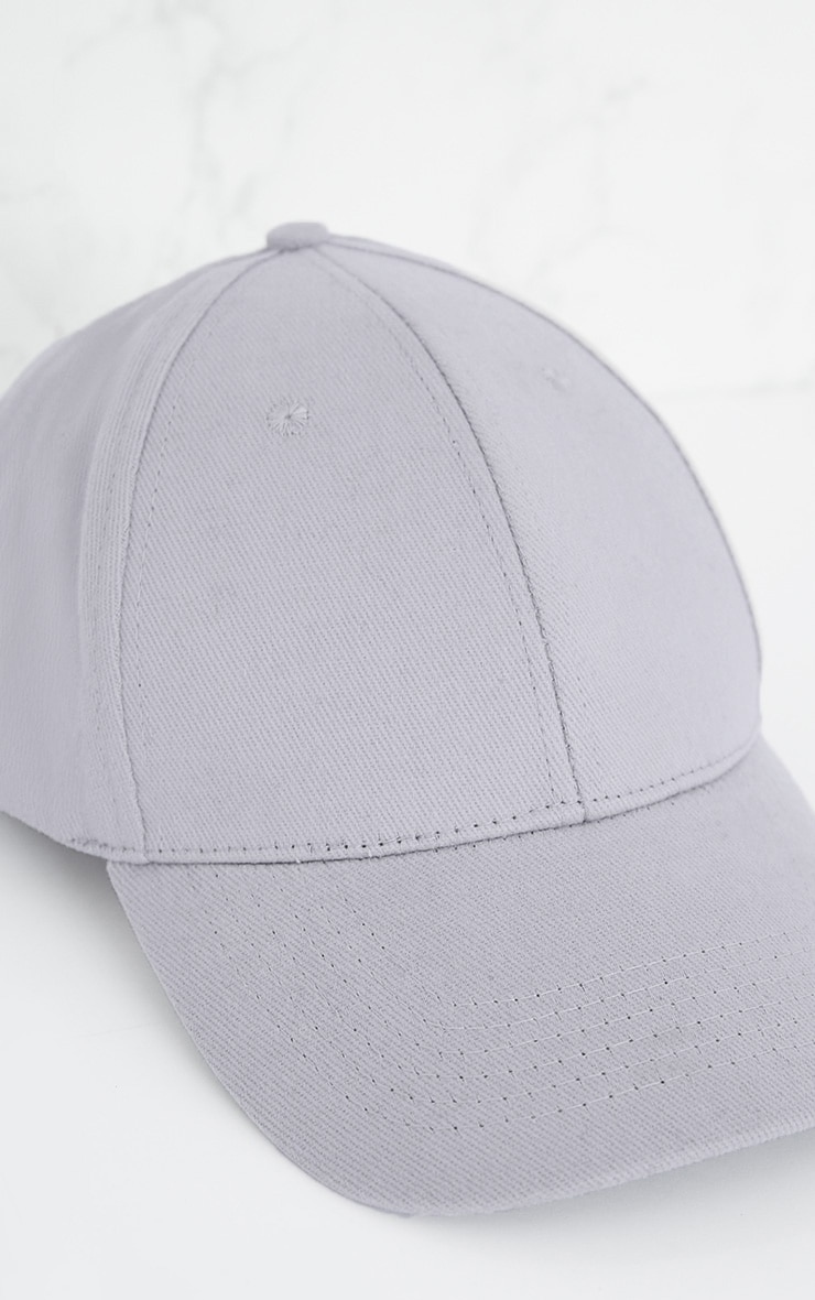 Light Grey Woven Baseball Cap 5