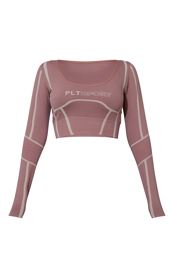 Mauve Linear Detail Scoop Neck Seamless Gym Top 5