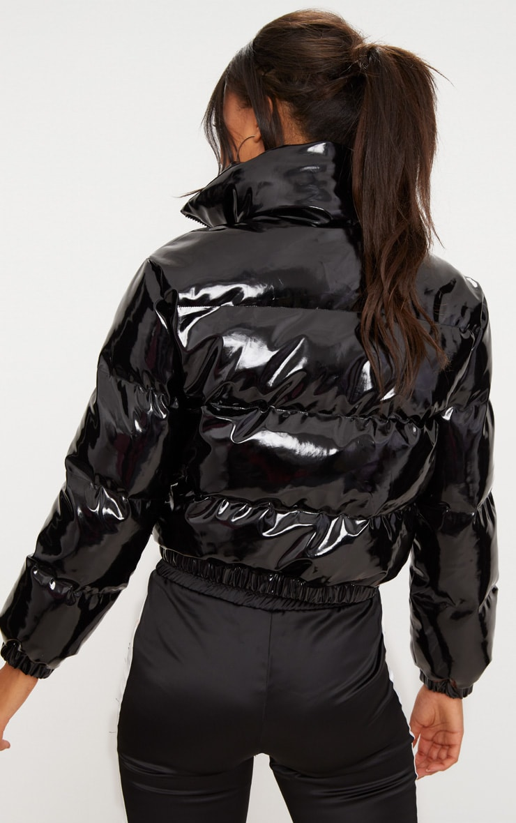 Black Cropped Vinyl Puffer Jacket 2