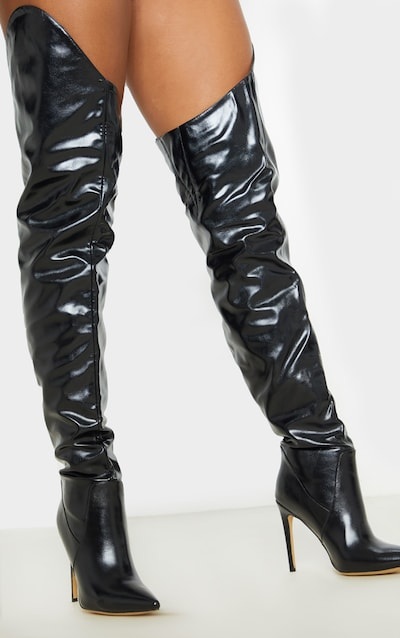 Black Extreme Thigh High Western Point Boot