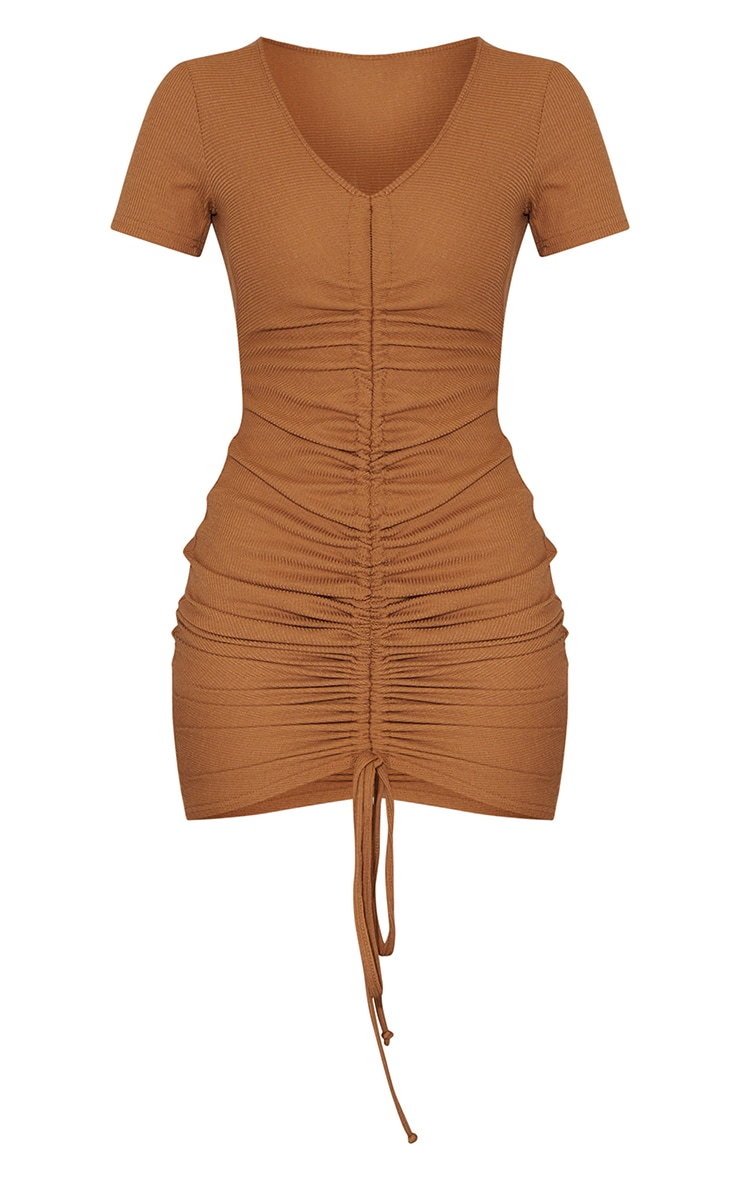 Camel Rib Ruched Front Short Sleeve Bodycon Dress 5