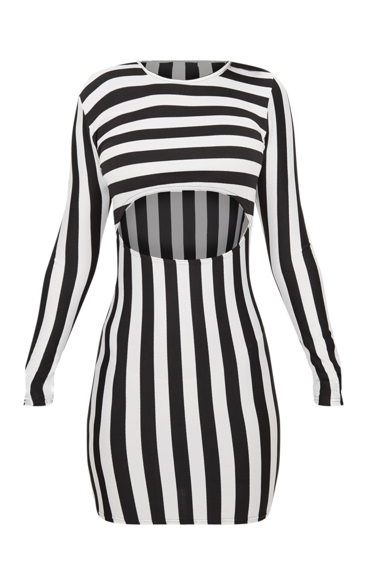 Monochrome Stripe Under Boob Long Sleeve Bodycon Dress 3