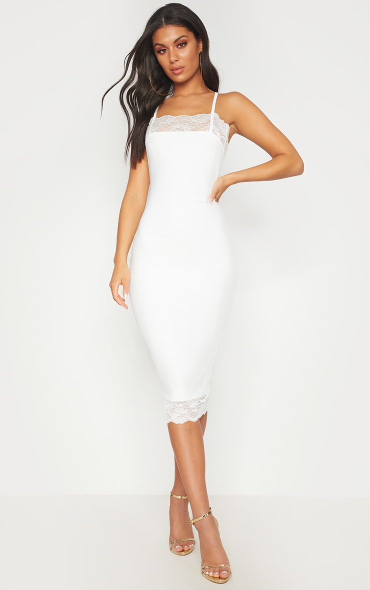 White Lace Trim Cross Back Midi Dress 1
