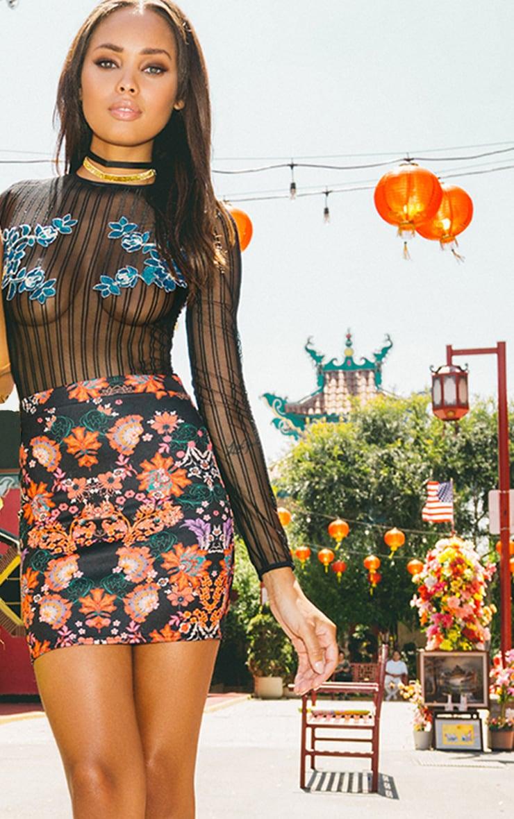 Shiena Black Oriental Print Mini Skirt 2