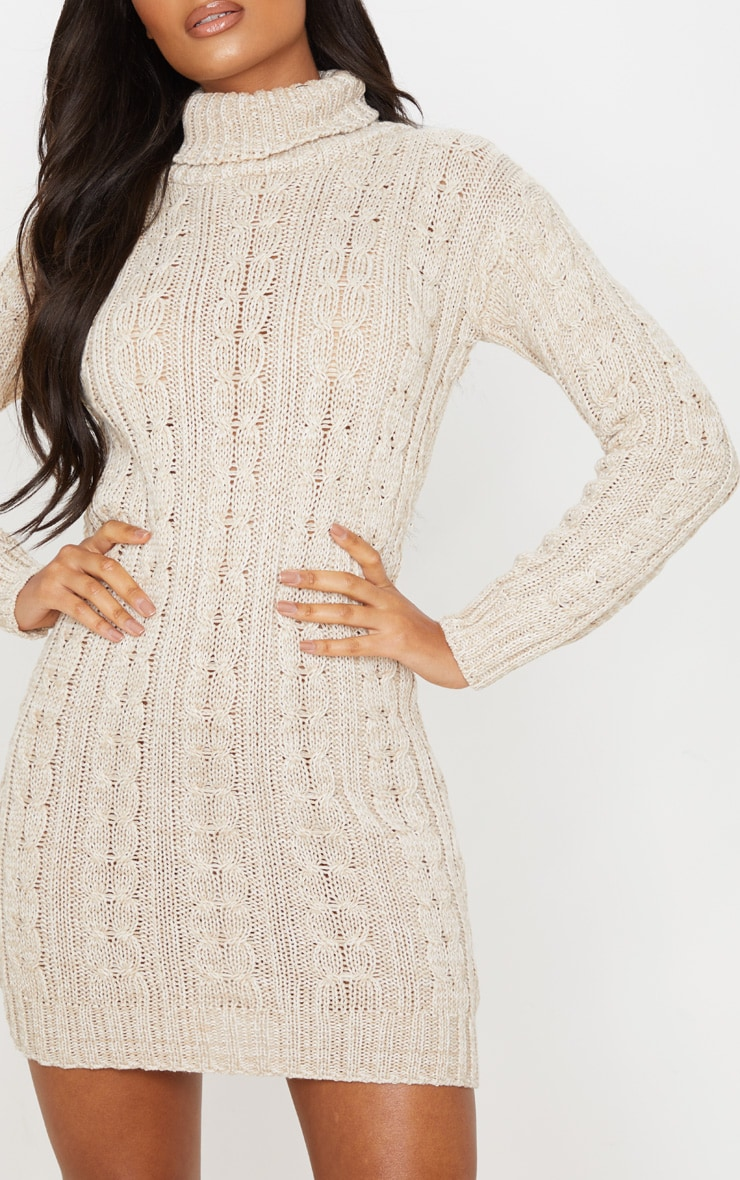 Oatmeal All Over Cable Knit Sweater Dress 5