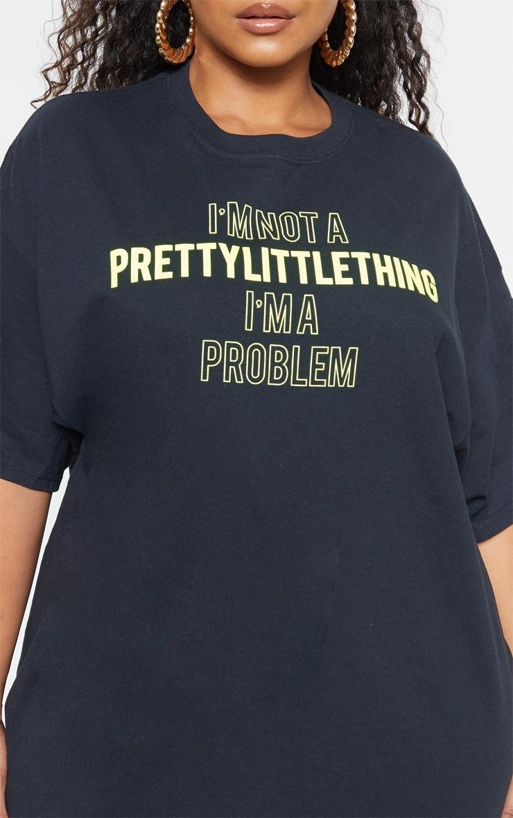 Plus Black Slogan T Shirt 6