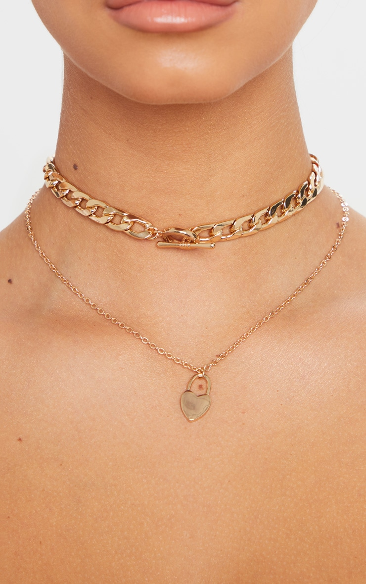 Gold Chunky Chain T Bar And Heart Pendant Layering Necklace 2