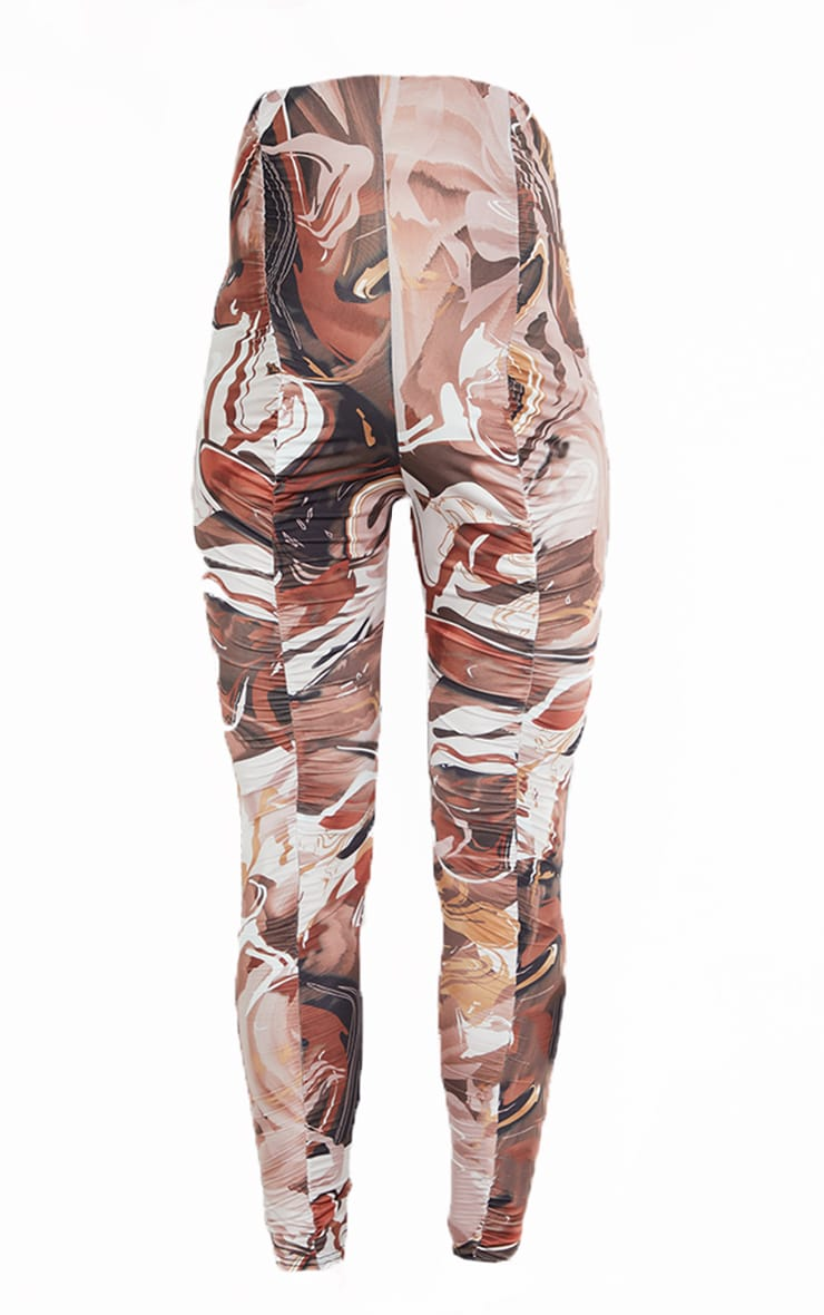 Maternity Chocolate Abstract Print Ruched Leggings 5