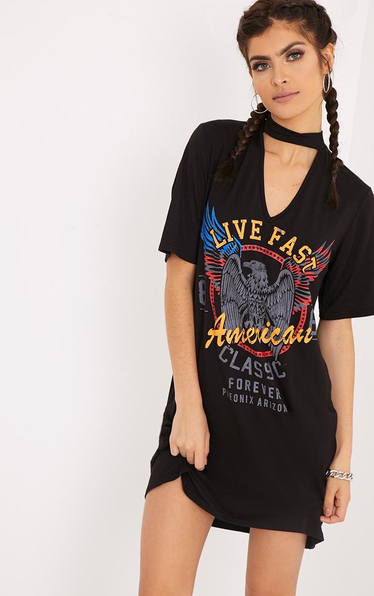 Shirt T DressPrettylittlething Choker Usa Fast Live Americans Black 8v0NnwmO