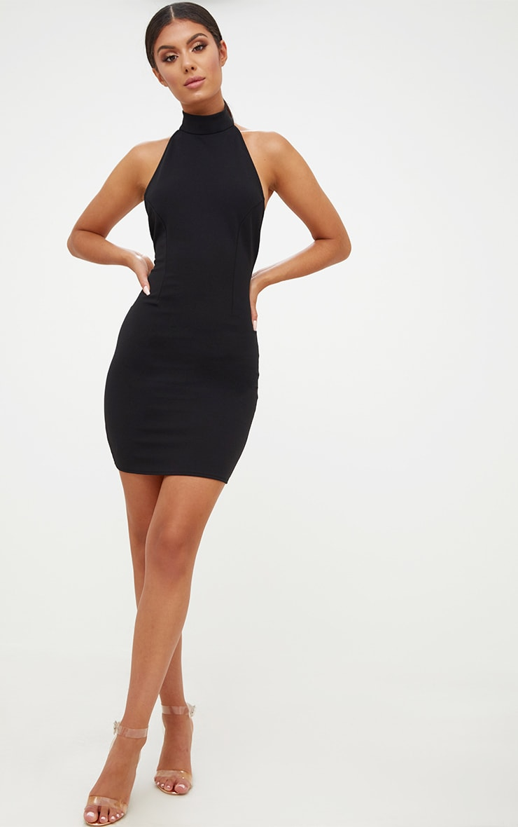 Black High Neck Low Back Bodycon Dress 4