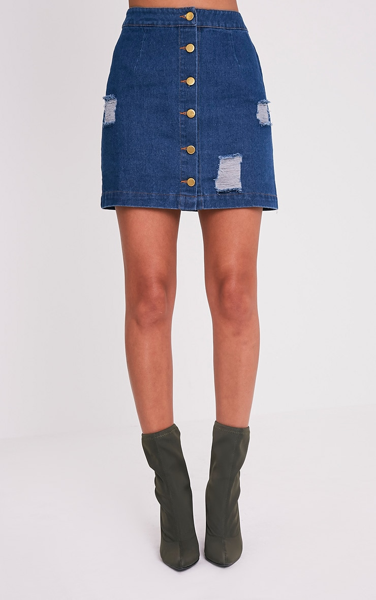 Zulia Dark Wash Denim Distressed Button Through Mini 2