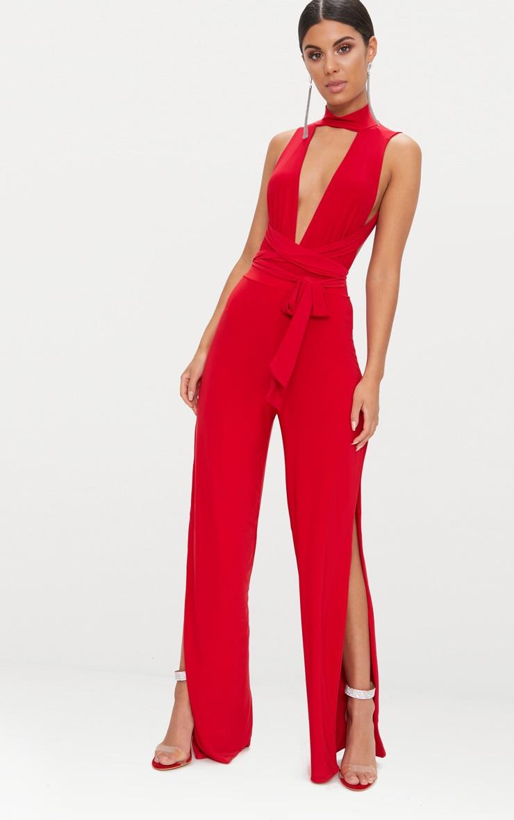Red Multiway Halterneck Thong Bodysuit  7