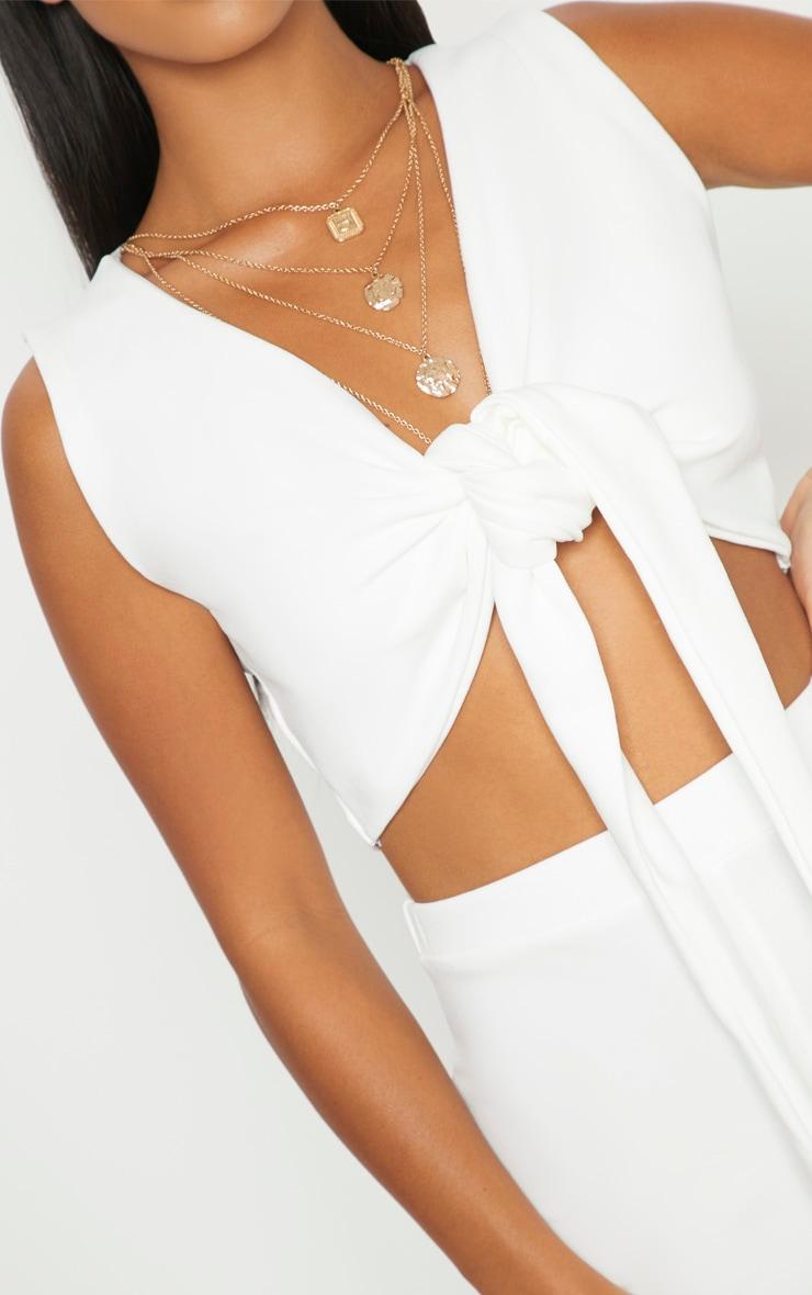 Petite White Tie Front Crop Top 5