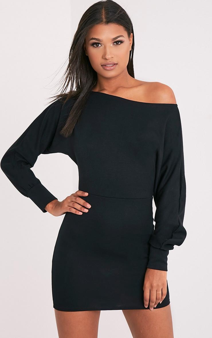 Narlie Black Off The Shoulder Sweater Dress 1