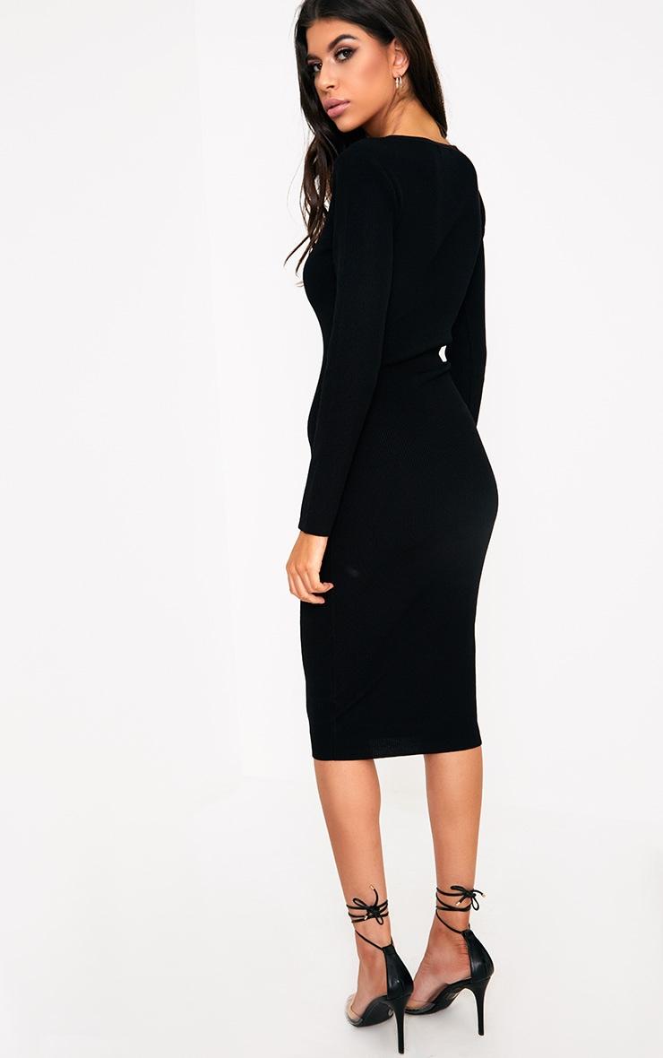 Cateleya Black Eyelet Bodycon Midi Dress 2