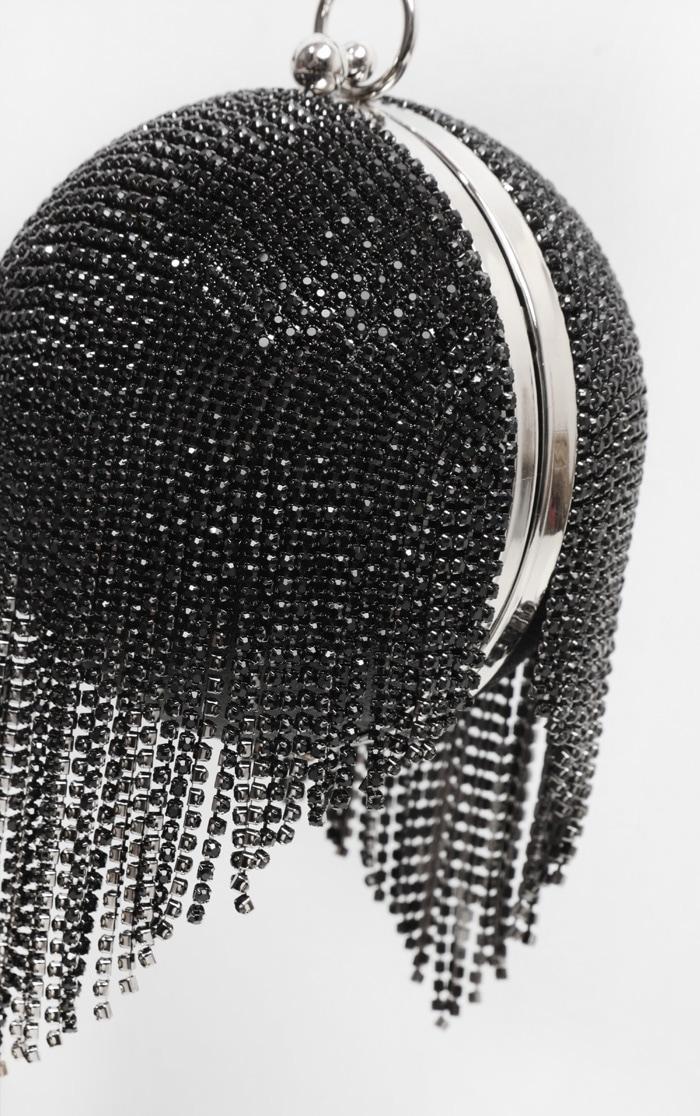 Black Diamante Tassel Sphere Clutch 2