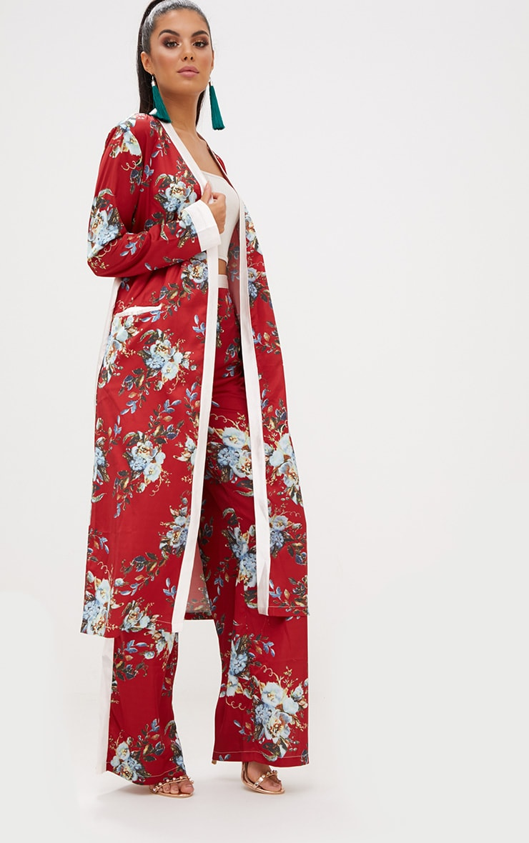 Red Floral Satin Duster Jacket  5