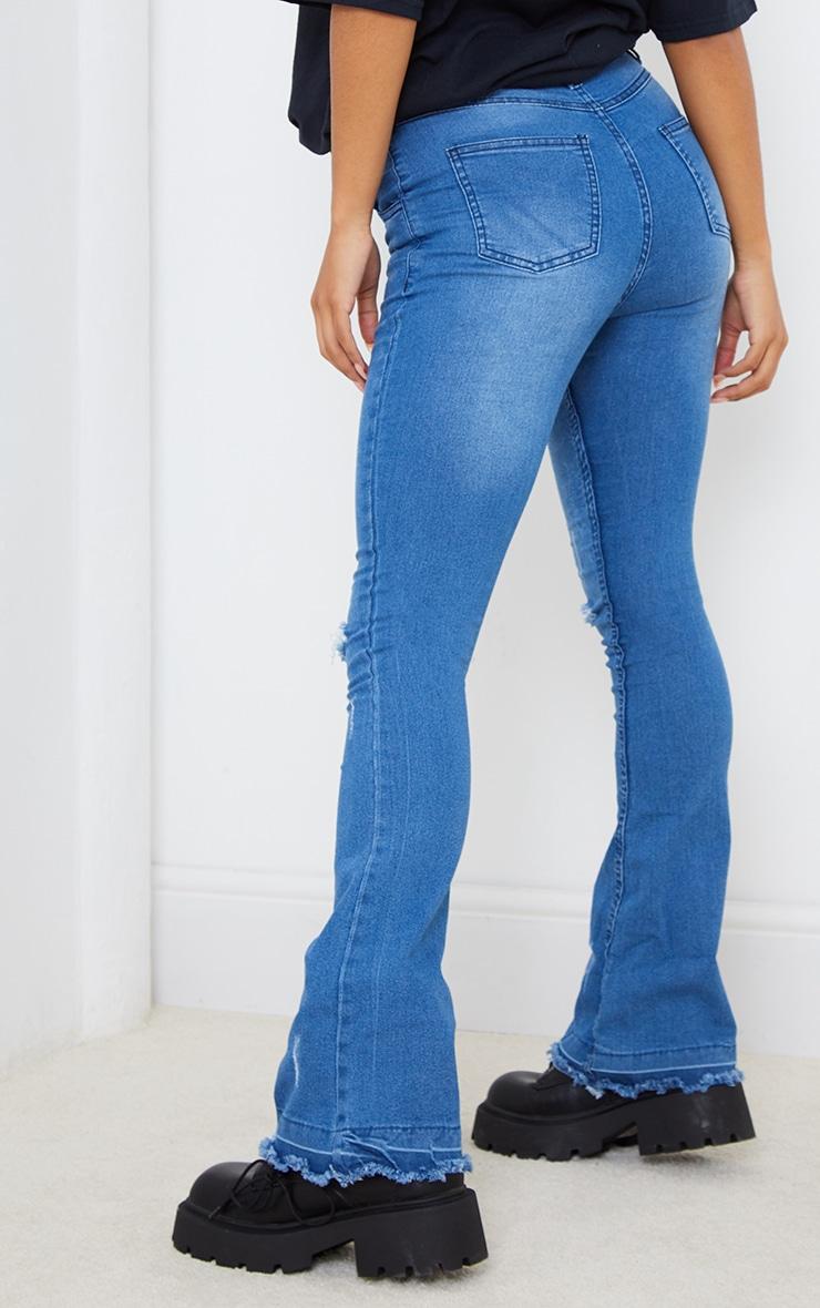 Mid Blue Distressed Knee Flare Jeans 3