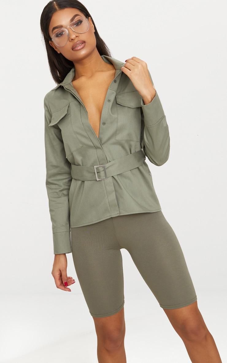 Khaki Military Buckle Pocket Detail Shirt  1