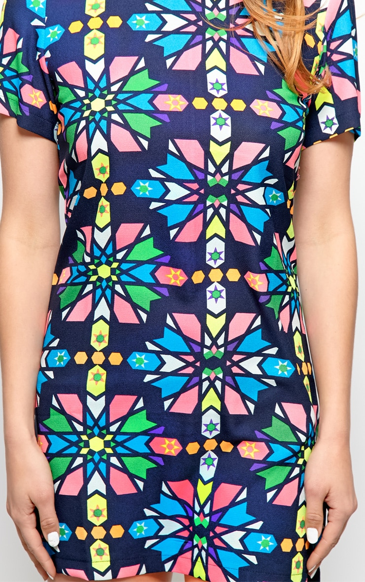 Pixie Navy Abstract Shift Dress 4