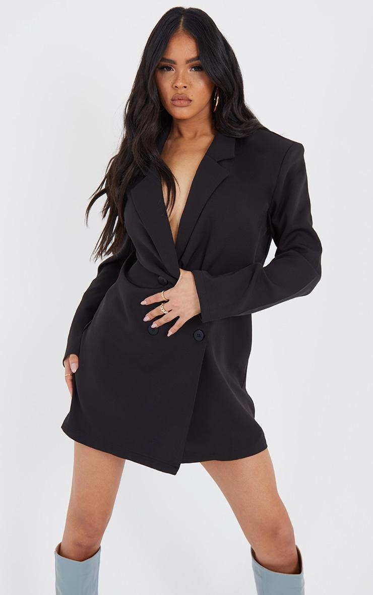 Black Oversized Boxy Long Sleeve Blazer Dress