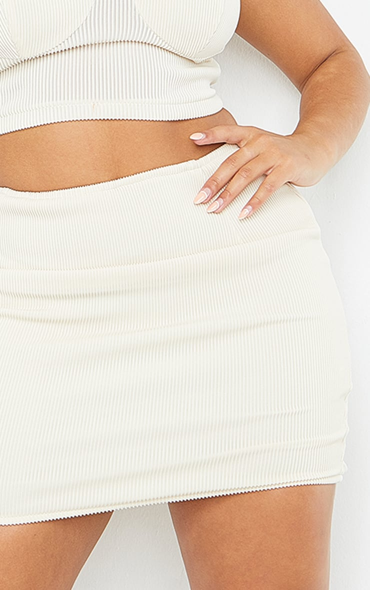 Shape Cream Wide Rib Bodycon Skirt 5