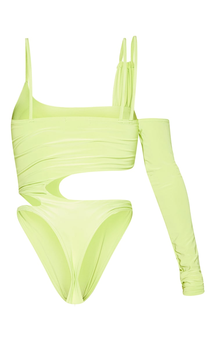 Shape Lime Slinky Asymmetric Detail Cut Out Bodysuit 6