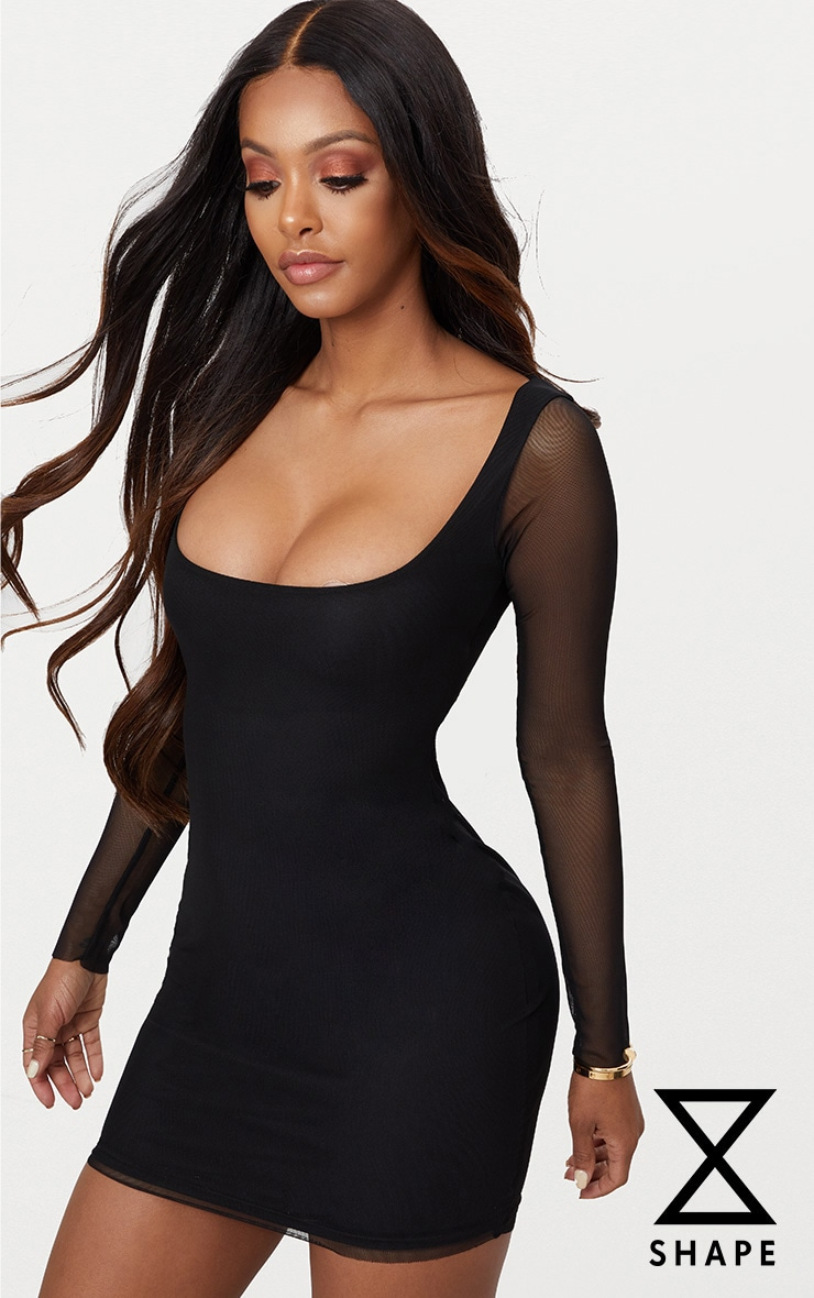 Shape Black Mesh Square Neck Bodycon Dress 1