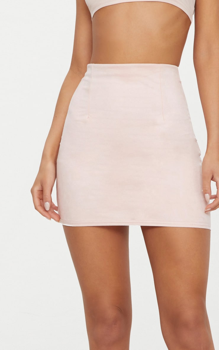 Pink Faux Suede Mini Skirt  6