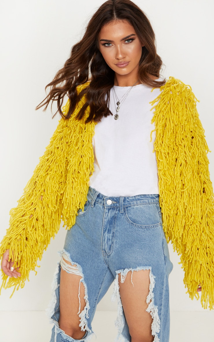 Mustard Shaggy Knit Cropped Cardigan 1