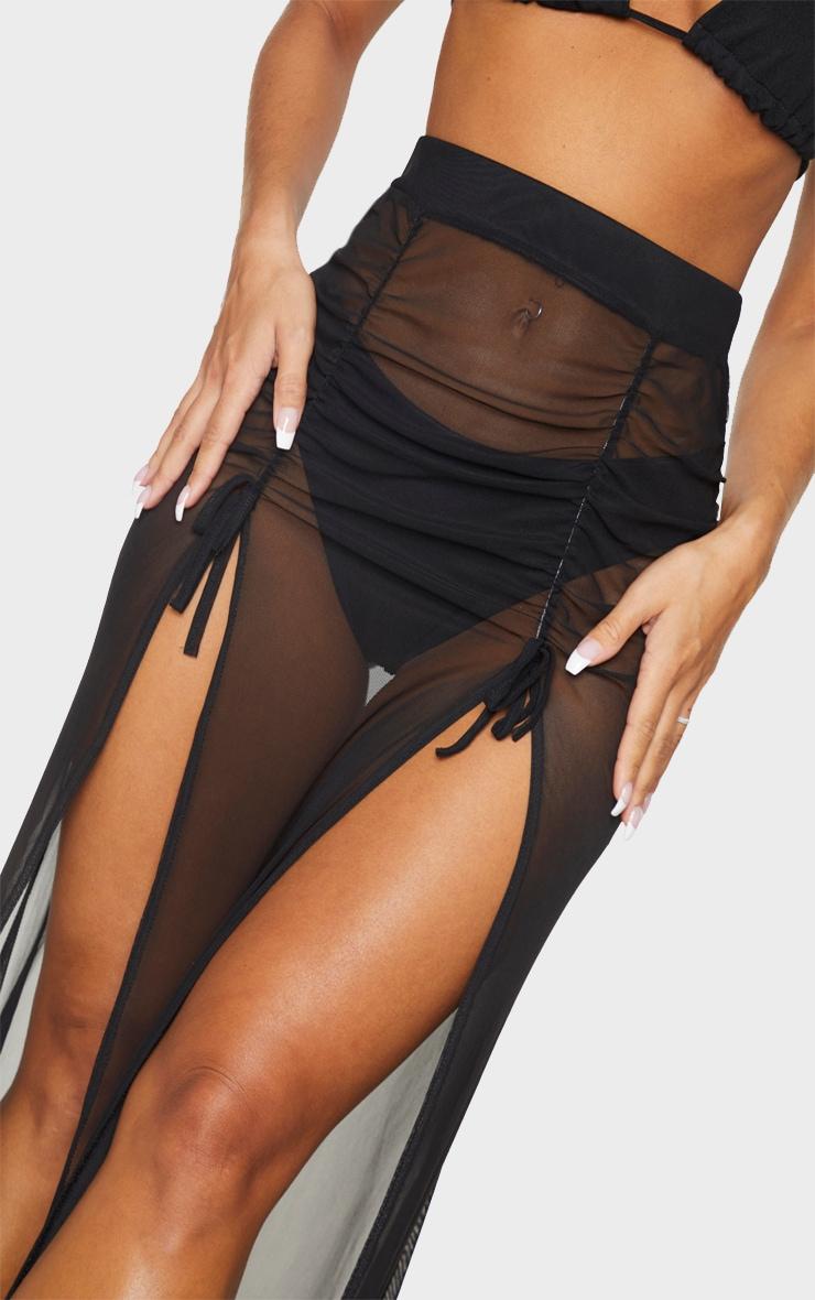 Black Split Ruched Maxi Skirt 4