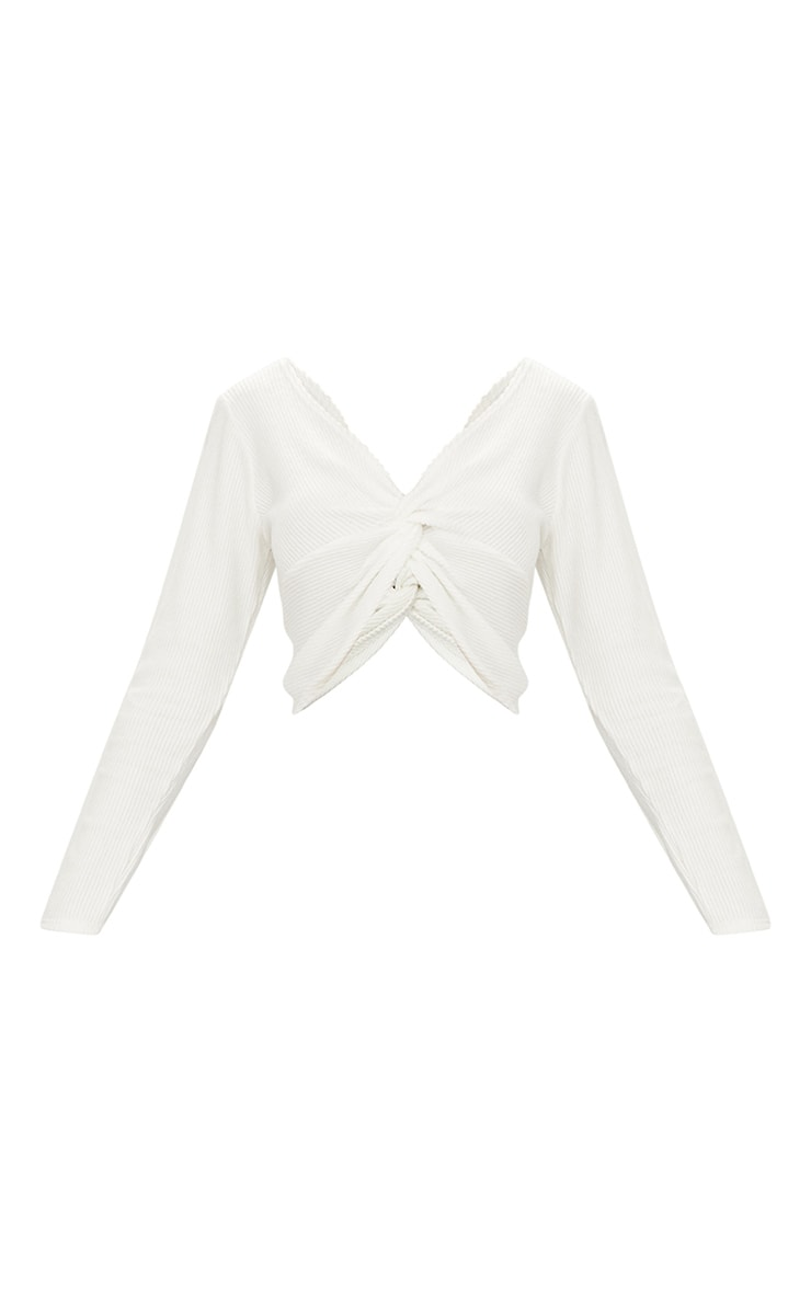 Cream Brushed Rib Twist Front Crop Sweater 3