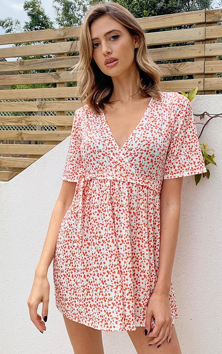 Cream Ditsy Floral Wrap Tea Dress 1