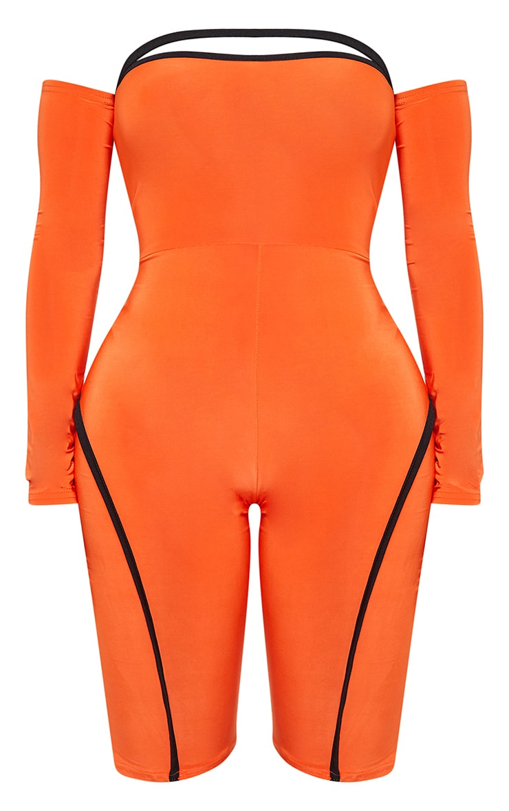 Shape Orange Binding Detail Bardot Unitard 3