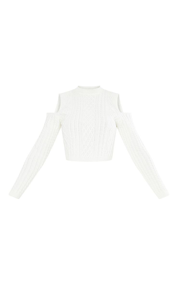 Cream Cable Cropped Cut Out Shoulder Jumper 4