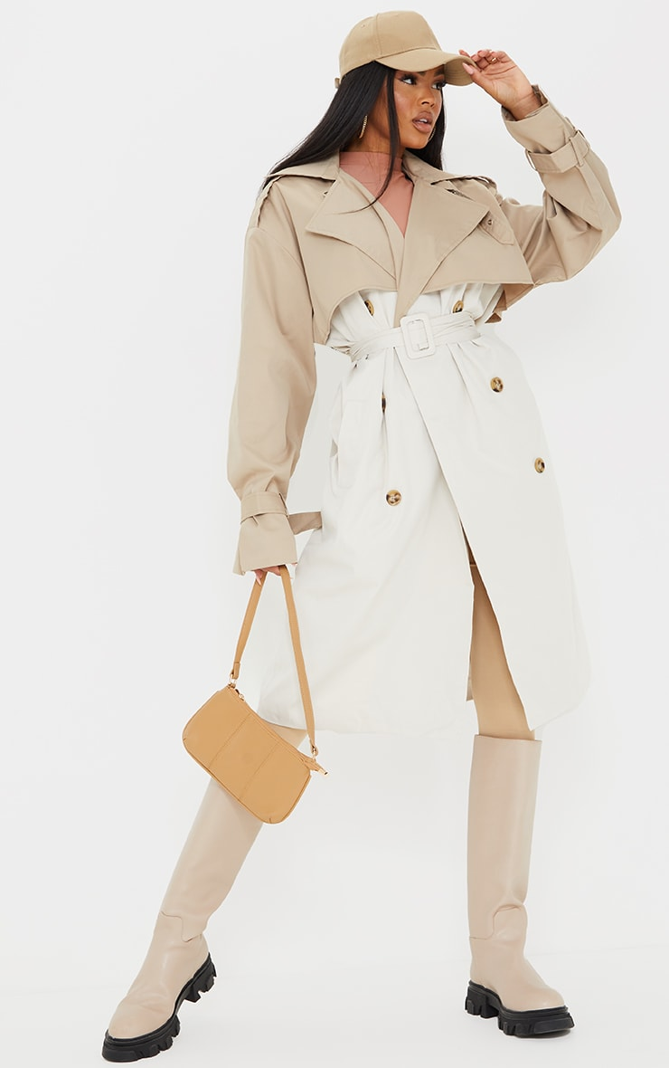 Cream Contrast Oversized Belted Midi Trench 3