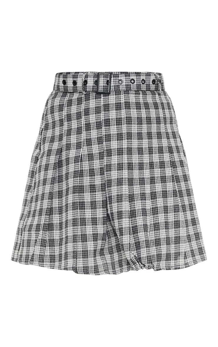 Black Woven Check Belted Skater Skirt 5