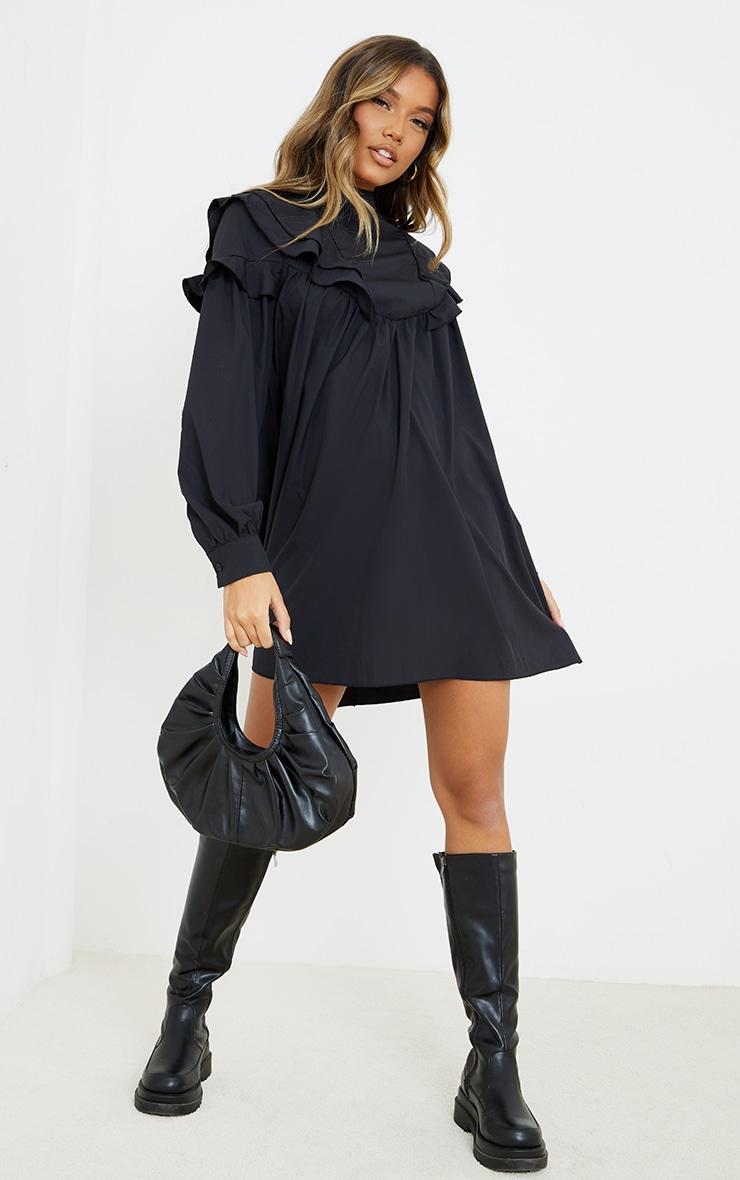 Black Frill Detail High Neck Smock Dress 1