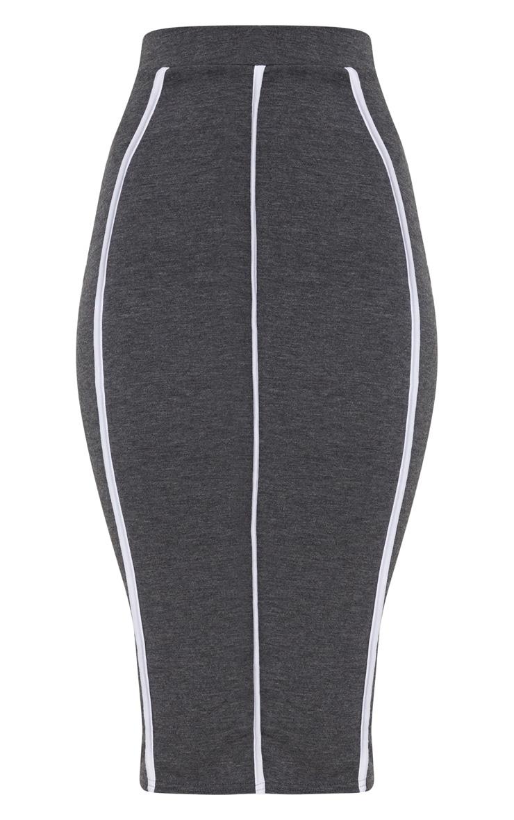 Charcoal Jersey Binding Detail Midi Skirt 3