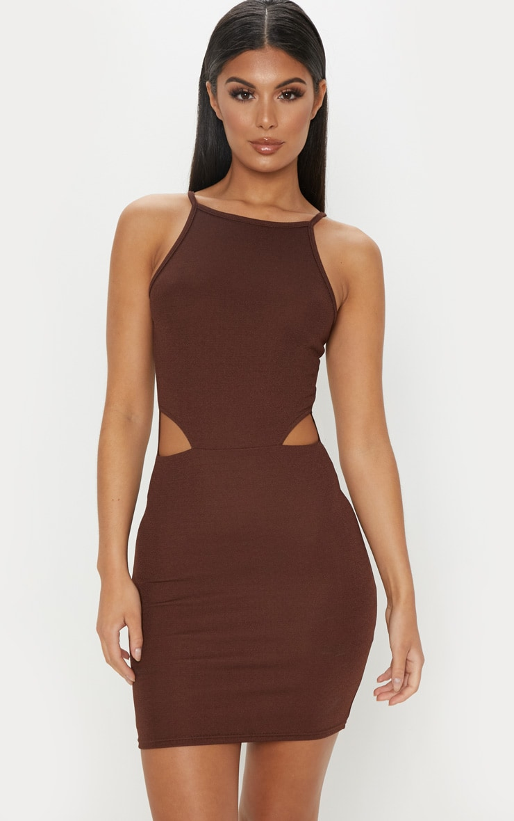 Chocolate Brown High Neck Cut Out Bodycon Dress 1