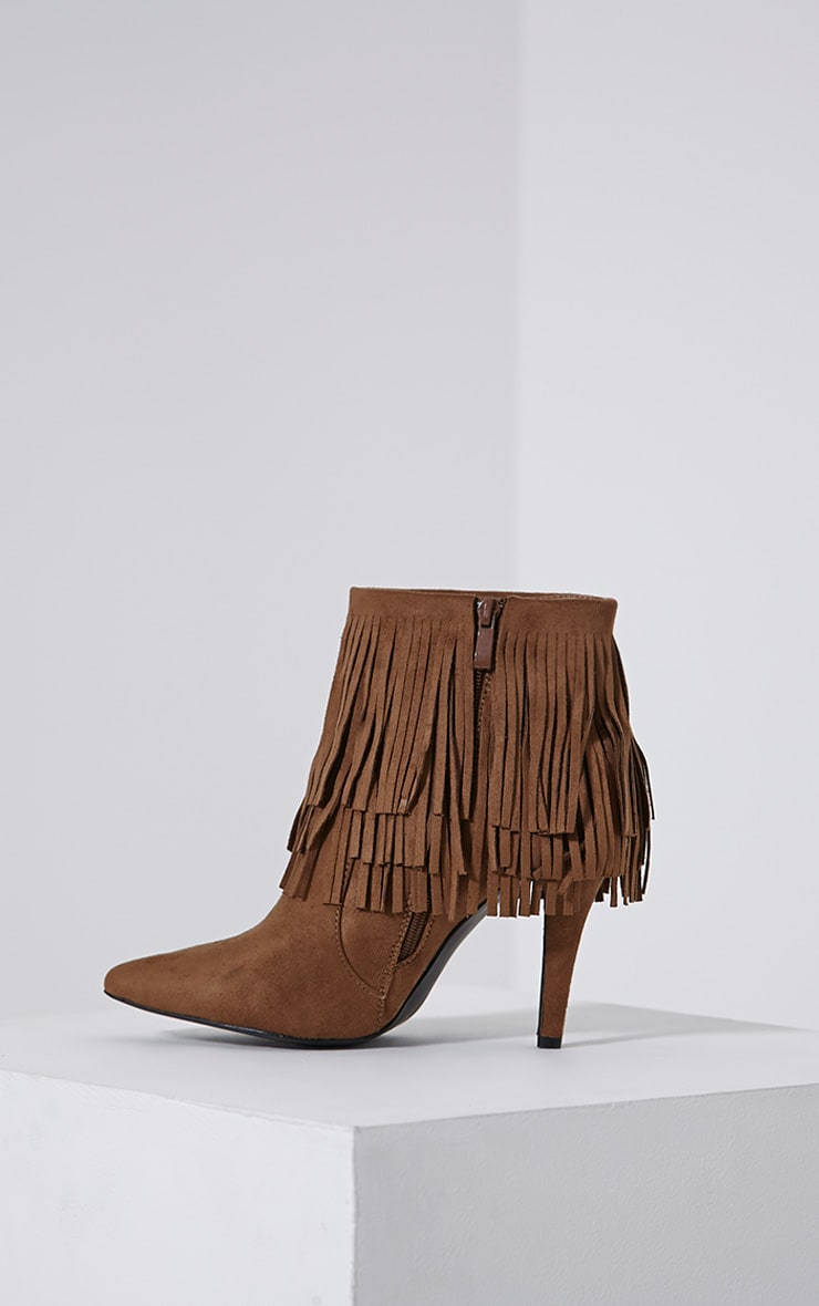 Torah Tan Pointed Fringe Suede Boots 4