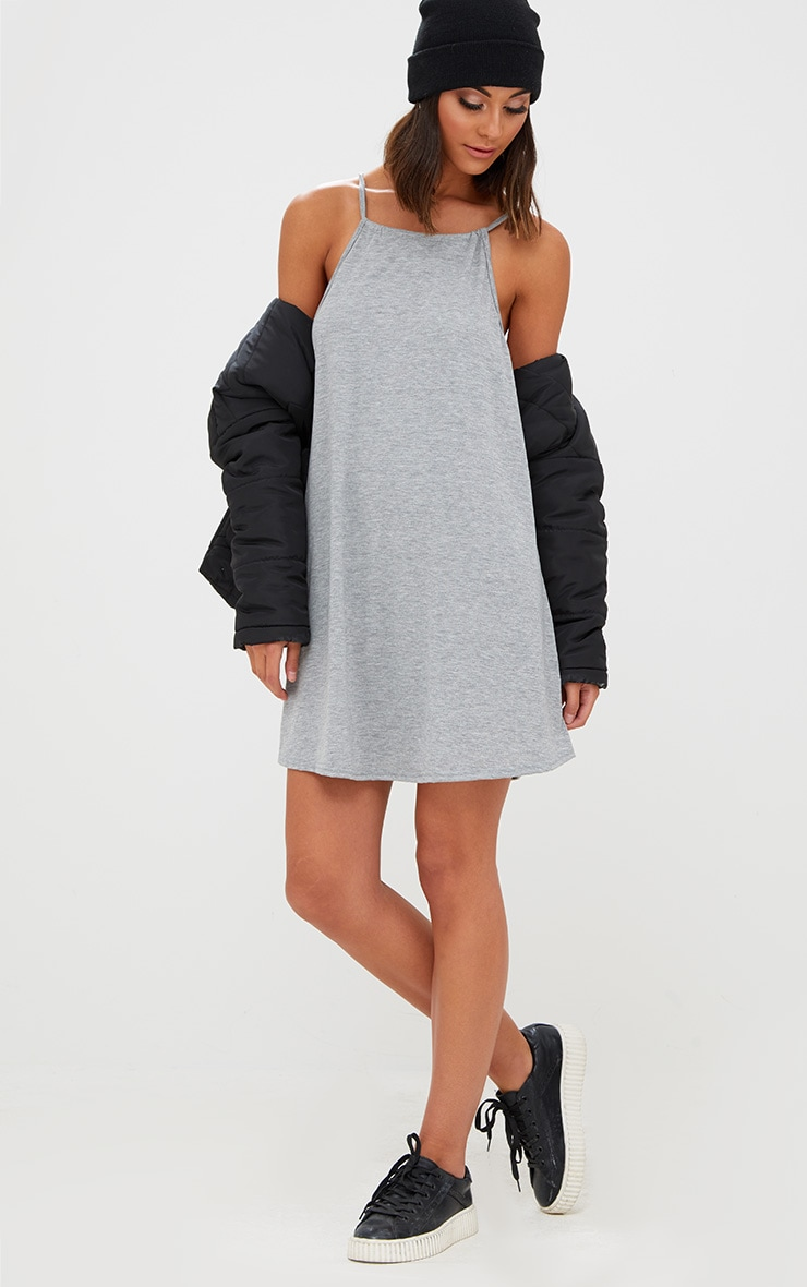 Basic Grey Marl Ruched Halterneck Shift Dress 4