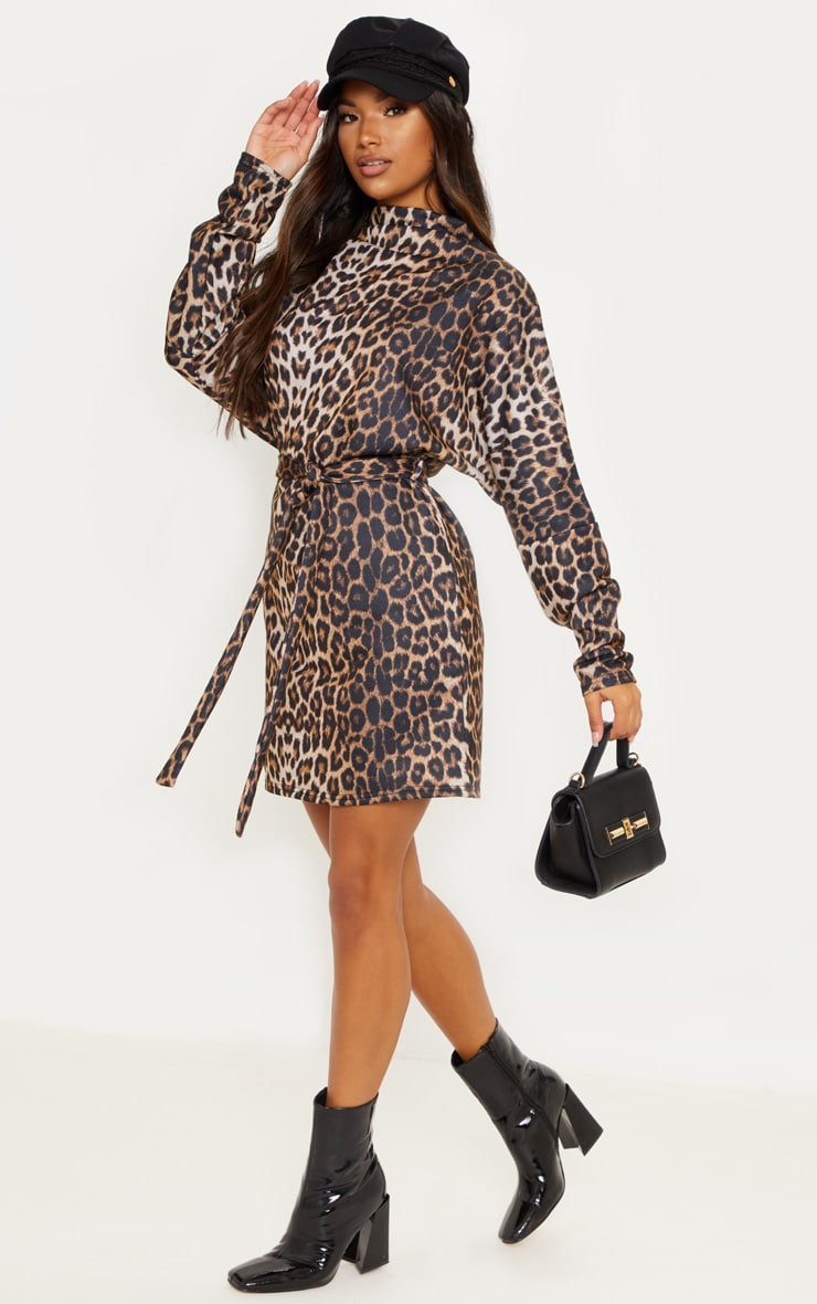Leopard Oversized Funnel Neck Tie Waist Jumper Dress 1