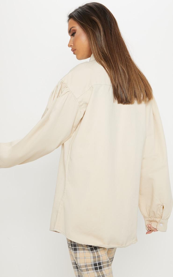 Ecru Balloon Sleeve Denim Shirt  2