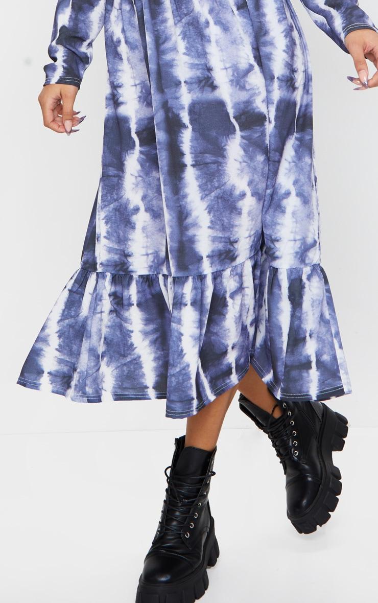 Navy Tie Dye Print Frill Hem Smock Midi Dress 4